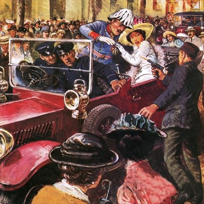 The assassination of Archduke Franz Ferdinand Fine Art Print by Clive Uptton