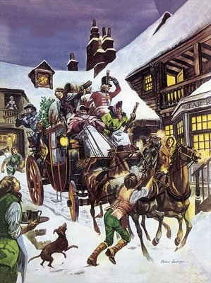 Christmas Day in the 18th century Fine Art Print by Peter Jackson