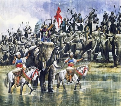 King Porus' army facing Alexander the Great in the torrential rain Fine Art Print by Ron Embleton