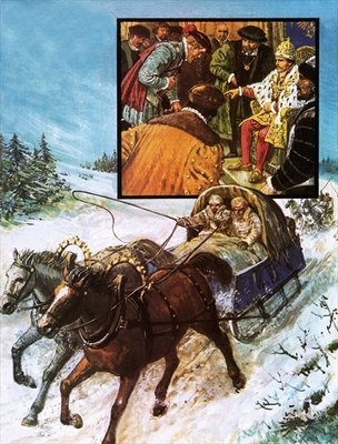 Edward Chancellor in a sleigh on the way to Moscow Poster Art Print by Clive Uptton