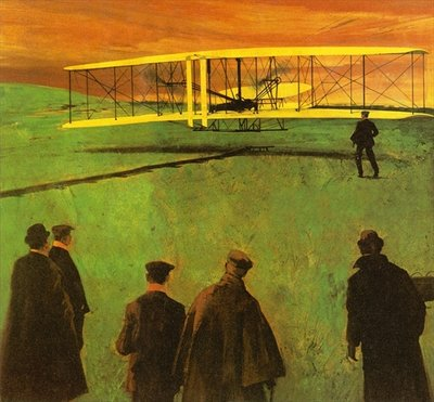 The first flight by the Wright Brothers at Kitty Hawk Fine Art Print by English School