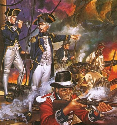 Nelson in the battle of Trafalgar Fine Art Print by Ron Embleton