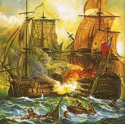 Naval battle Fine Art Print by English School