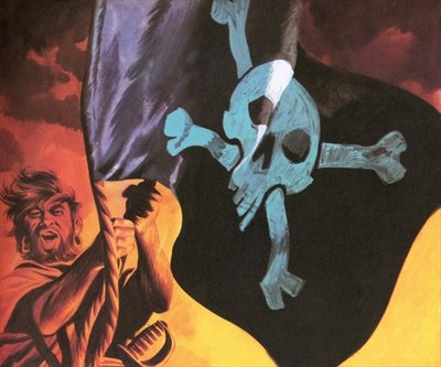 Raising the Jolly Roger Fine Art Print by Ron Embleton