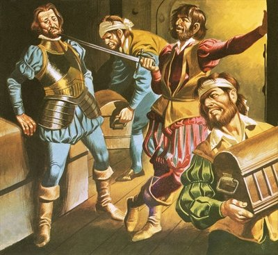 Pirates at work Fine Art Print by Ron Embleton