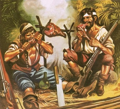 Pirates eating meat Fine Art Print by Ron Embleton