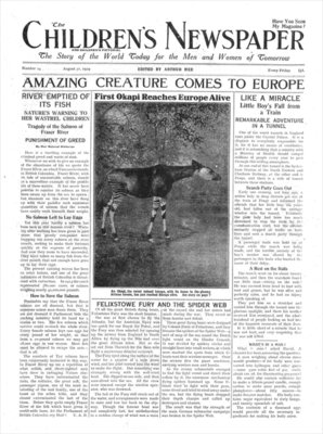 Amazing Creature Comes to Europe, front page of 'The Children's Newspaper', August 1919 (newsprint) Wall Art & Canvas Prints by English School