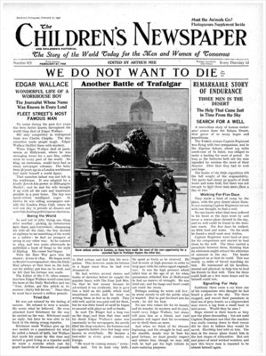 Another Battle of Trafalgar, front page of 'The Children's Newspaper', February 1932 (newsprint) Wall Art & Canvas Prints by English School