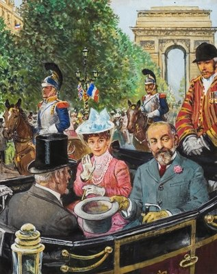 Edward VII being coolly received by the Parisians Fine Art Print by Clive Uptton