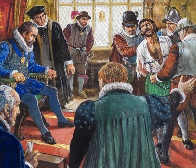 Guy Fawkes brought before King James and his Council Wall Art & Canvas Prints by Clive Uptton