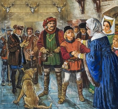 Elizabeth Woodville finally persuaded to give up her younger son, Richard Wall Art & Canvas Prints by Clive Uptton