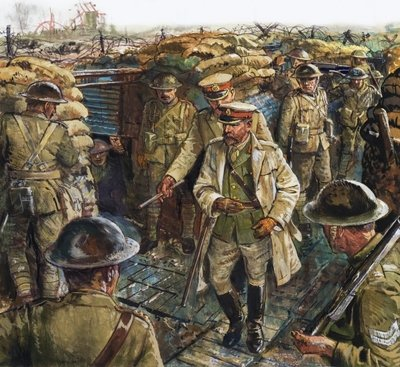 King George V visiting the troops fighting in France Wall Art & Canvas Prints by Clive Uptton
