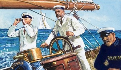 King George V sailing Britannia Wall Art & Canvas Prints by Clive Uptton