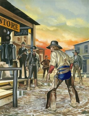 Shoot out in the Wild West Postcards, Greetings Cards, Art Prints, Canvas, Framed Pictures, T-shirts & Wall Art by Ron Embleton