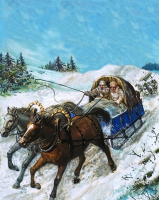 Richard Chancellor is taken to meet Tsar Ivan by sledge Fine Art Print by Clive Uptton
