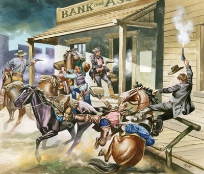 Bank robbery taking place in the Wild West. Postcards, Greetings Cards, Art Prints, Canvas, Framed Pictures, T-shirts & Wall Art by Ron Embleton