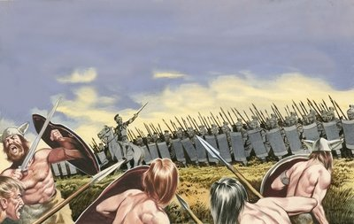 British tribes tried to prevent the Roman legionaries of Julius Caesar from crossing the Thames Postcards, Greetings Cards, Art Prints, Canvas, Framed Pictures, T-shirts & Wall Art by Ron Embleton
