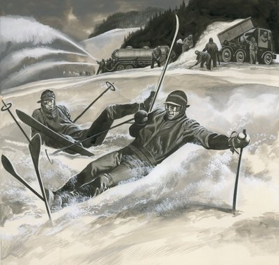 Skiiers and snow machines Postcards, Greetings Cards, Art Prints, Canvas, Framed Pictures, T-shirts & Wall Art by Ron Embleton