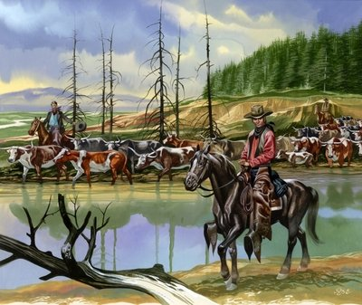Texan cowboys driving cattle north Postcards, Greetings Cards, Art Prints, Canvas, Framed Pictures, T-shirts & Wall Art by Ron Embleton