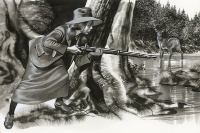 Annie Oakley shooting a buck Postcards, Greetings Cards, Art Prints, Canvas, Framed Pictures, T-shirts & Wall Art by Ron Embleton