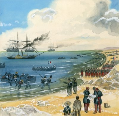 A large French army arriving in Mexico Fine Art Print by Gerry Embleton