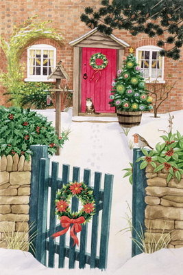 Snowy Front Garden (gouache on paper) Wall Art & Canvas Prints by Linda Benton