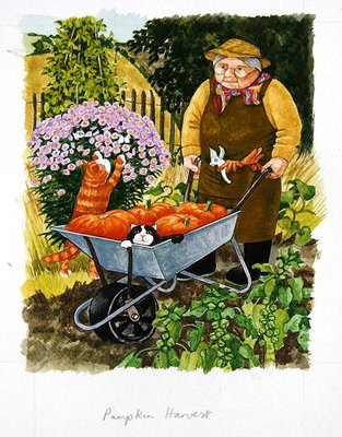 Grandma and 2 cats and pumpkin harvest Poster Art Print by Linda Benton
