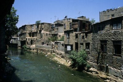 Old Houses along the Barada river in the Old City of Damascus Fine Art Print by Anonymous