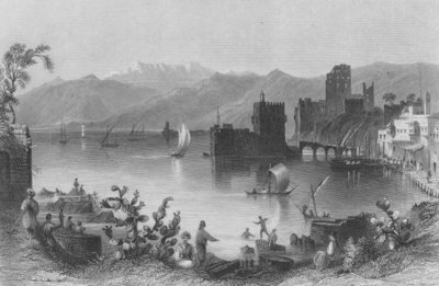 Port of Beirout, the Ancient Berothai, engraved by J. Appleton Fine Art Print by William Henry Bartlett