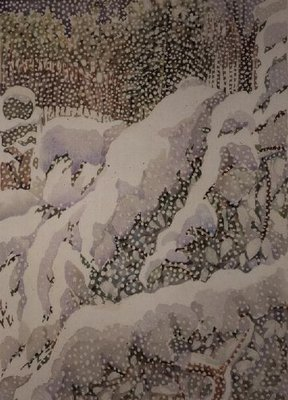 Snowfall on Front Garden Fine Art Print by Lillian Delevoryas