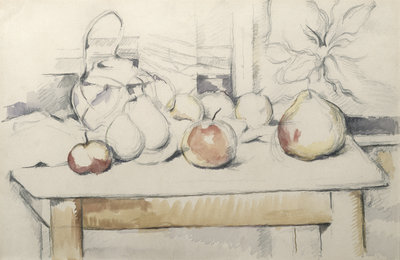Pot of Ginger and Fruits on a Table, c.1888-90 Postcards, Greetings Cards, Art Prints, Canvas, Framed Pictures & Wall Art by Paul Cezanne