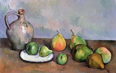 Still Life with Pitcher and Fruit, 1885-87 Postcards, Greetings Cards, Art Prints, Canvas, Framed Pictures, T-shirts & Wall Art by Paul Cezanne