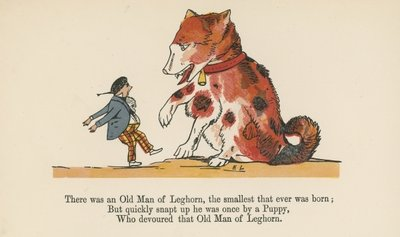 """There was an Old Man of Leghorn, the smallest that ever was born"", from 'A Book of Nonsense', published by Frederick Warne and Co., London, c.1875 Fine Art Print by Edward Lear"