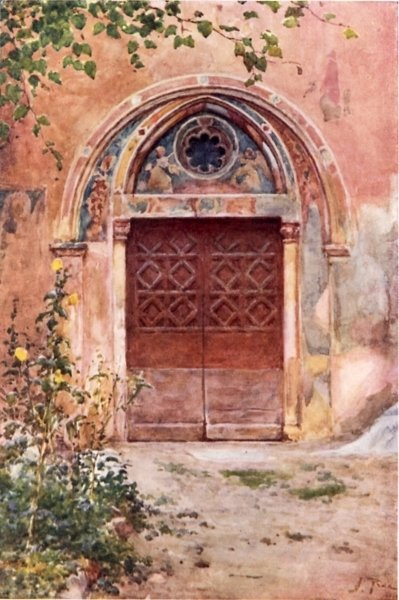 Doorway of the Monastery of S Benedict (Sagro Speco) at Subiaco Fine Art Print by Alberto Pisa