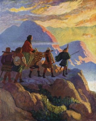 Helen Descends the Glen of Stones Wall Art & Canvas Prints by Newell Convers Wyeth