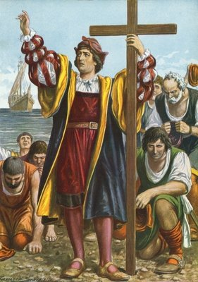 Christopher Columbus arriving in the New World Fine Art Print by Tancredi Scarpelli