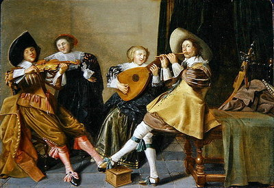An Elegant Company Playing Music in an Interior Fine Art Print by Dirck Hals