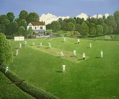 Cricket at Claygate, 1981 Poster Art Print by Liz Wright