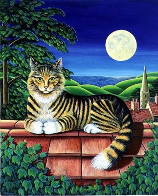 Cat on the tiles, 1993 Wall Art & Canvas Prints by Liz Wright