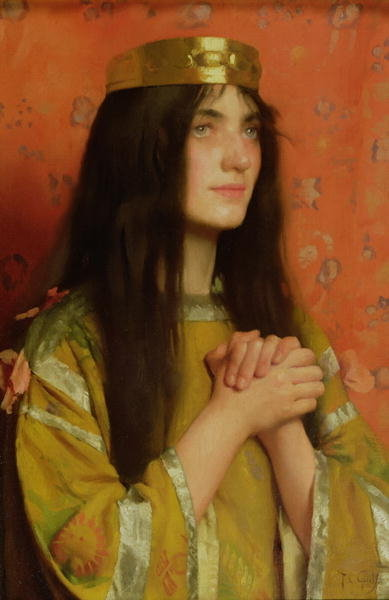La Reine Clothilde (oil on canvas) Wall Art & Canvas Prints by Thomas Cooper Gotch