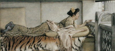 Dolce fa Niente, 1873 (w/c on paper) Fine Art Print by Sir Lawrence Alma-Tadema
