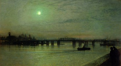 Battersea Bridge, 1885 (oil on canvas) Postcards, Greetings Cards, Art Prints, Canvas, Framed Pictures, T-shirts & Wall Art by John Atkinson Grimshaw