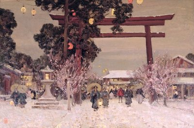 View of a Shinto Shrine, c.1889 (oil on canvas) Wall Art & Canvas Prints by Sir Alfred East