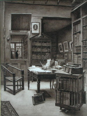 The Interior of a Bookshop, 1891 (monochrome w/c on paper) Fine Art Print by Arthur Ellis