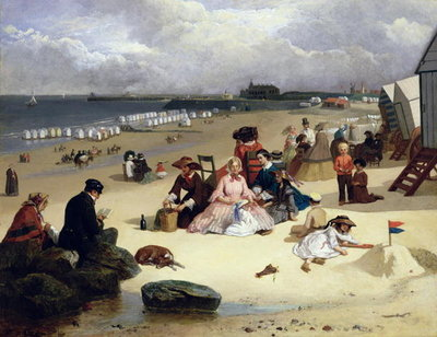 Littlehampton Beach with the Pier, Climping beyond c.1888 (oil on panel) Fine Art Print by John W. Eyres