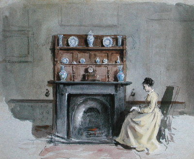 Lady Seated by Fireplace Fine Art Print by George Goodwin Kilburne