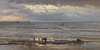 Kelp Gatherers - A Grey Morning, 1874 Fine Art Print by Henry Moore