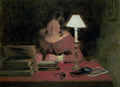 Girl Writing by Lamplight, c.1850 Fine Art Print by William Henry Hunt