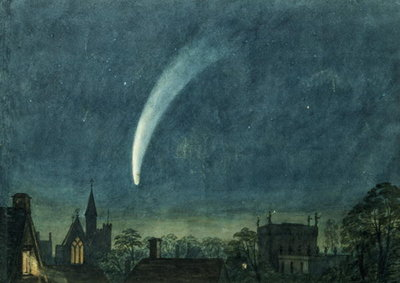 Donati's Comet over Balliol College (w/c with scratching out on paper) Fine Art Print by William of Oxford