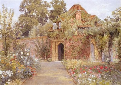 A Walled Garden with Old Garden House Fine Art Print by Thomas H. Hunn